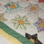 Pentagon Star Vintage quilt - closeup of block