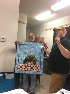 Patrick and Jamie with one of Jamie's awesome quilts
